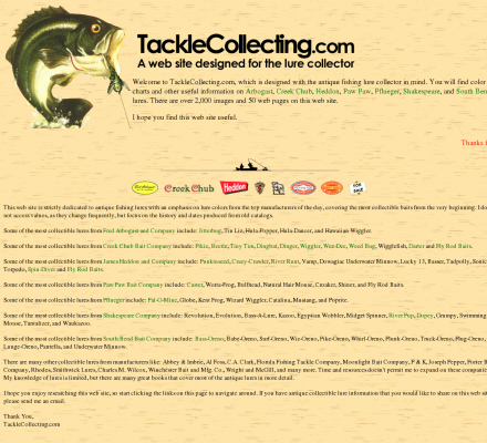TackleCollecting.com - Includes information, color charts ...