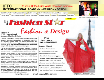 Iftc International Academy Of Fashion Design We Are The Leading College In Malaysia Which Specializing In Fashion Design